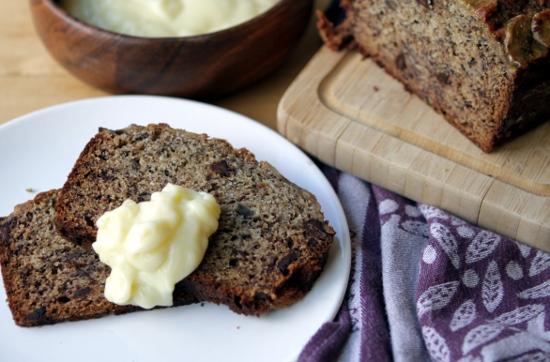 Banana bread with banana cream.