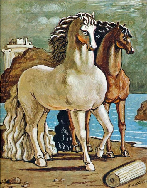 Giorgio de Chirico - Two Horses by a Lake.