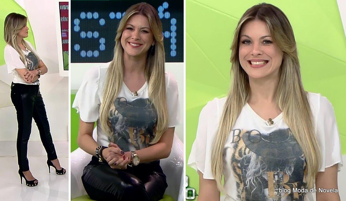 moda do programa Jogo Aberto, look da Renata Fan dia 8 de agosto