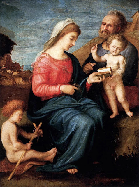 Piero di Cosimo - Holy Family with the Young St John the Baptist.