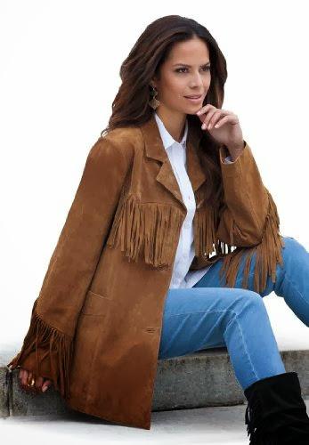 00b4e323baf Roamans Women s Plus Size Suede Fringe Jacket (Nutmeg