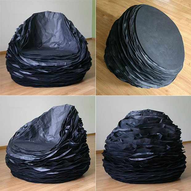 Black Paper Armchair by Vadim Kibardin