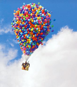 Lots Of Balloons Going Up In The Sky Attached With A Cart Scene From Famous Children S Movie