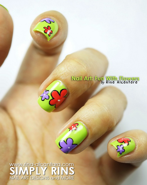 Fun With Flowers Nail Art Design