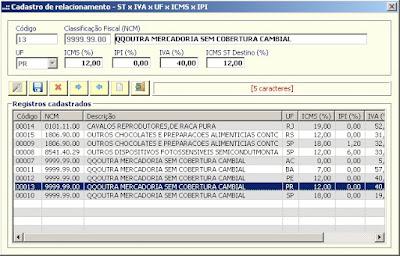 NeXT ERP NFe 2.0 segunda geração IVA UF ICMSST