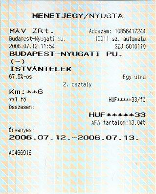 Automatás jegy