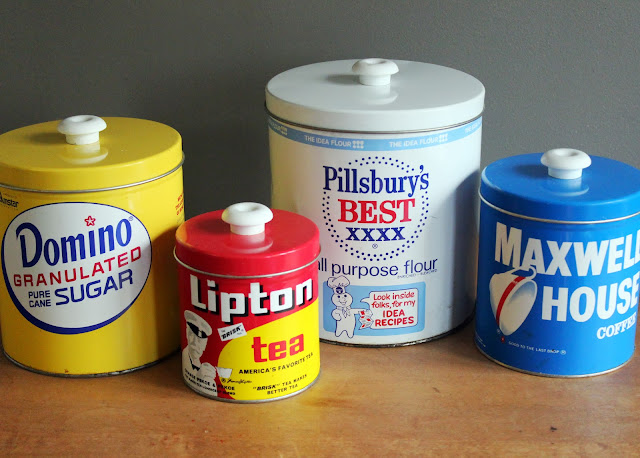 Set of retro food tins available for rent from www.momentarilyyours.com, $3.