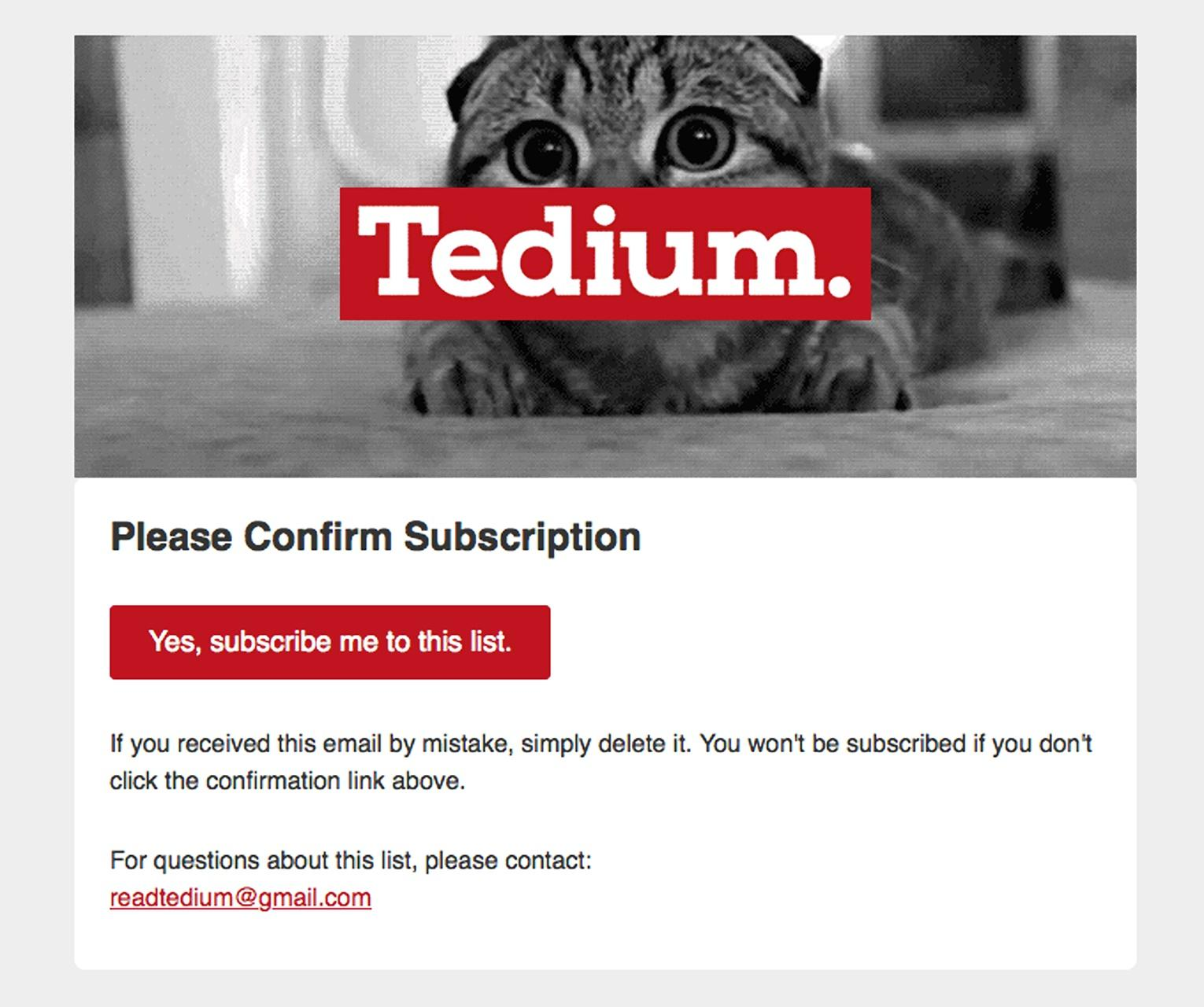 Email example from Tedium