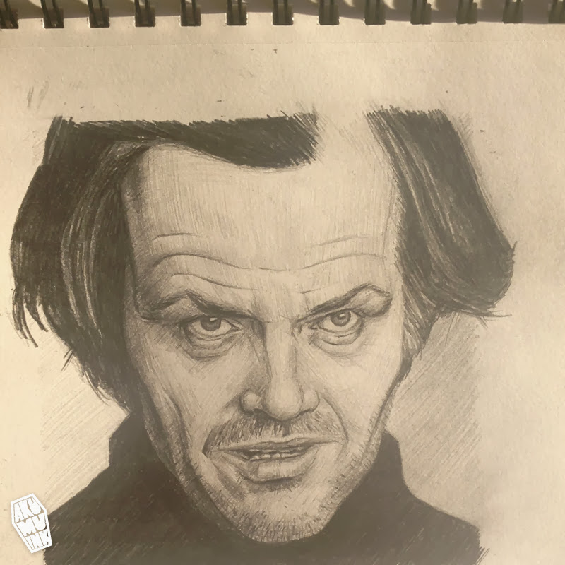 jack nicholson, celebrity fanart, artist, sketch, portrait artist, pencil sketch, local artist, montreal artist, retro art, 80s art, shining fanart, jack nicholson fanart, los angeles portrait artist, shining art, horror art