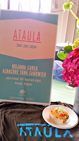 Chef Jose Chesa from Ataula boldy presented a cold tapas breakfast dish of Mojama-cured Albacore Tuna sandwich on coca bread with dill mustard mayo, mango, and arugula at Portland Monthly's Country Brunch 2014 at Castaway benefiting Zenger Farm