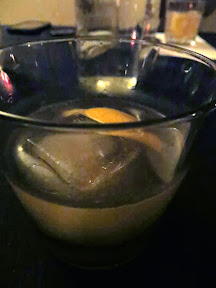 Morgan St Theater dessert flight and cocktail pairing, Marc's cocktail The Pool of Bethesda with Cognac, Aquavit, Combier, Lemon, Bay Leaf Syrup, Bitters