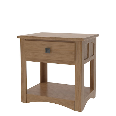 Haiku Nightstand with Shelf, Natural Oak