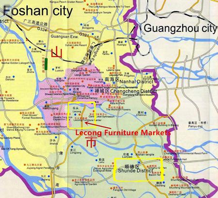 Карта поможет вам понять отношения между Гуанчжоу, Фошань, Шунде, Леконг