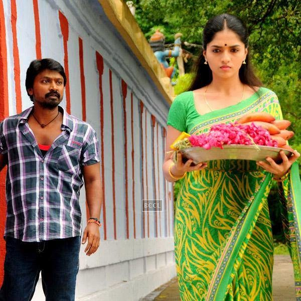 Kreshna and Sunaina in a still from the Tamil movie Vanmham.