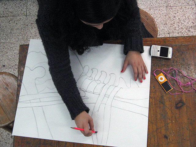 Mr Bob S Middle High School Art Room Skeleton Ink Drawing