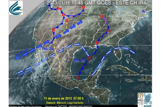 Mapa de condiciones meteorológicas de México para el 11 de enero de 2013