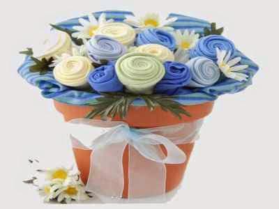 Macetero con paño en forma de flores