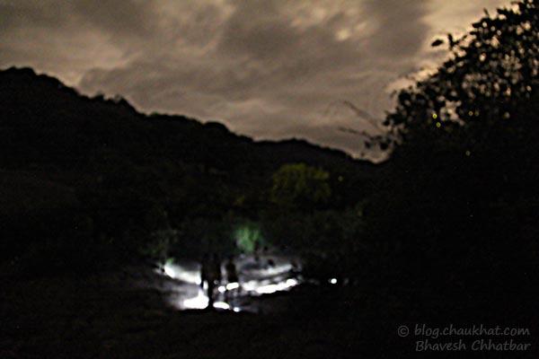 People in search of fireflies / light bugs in Bhorgiri, Bhimashankar
