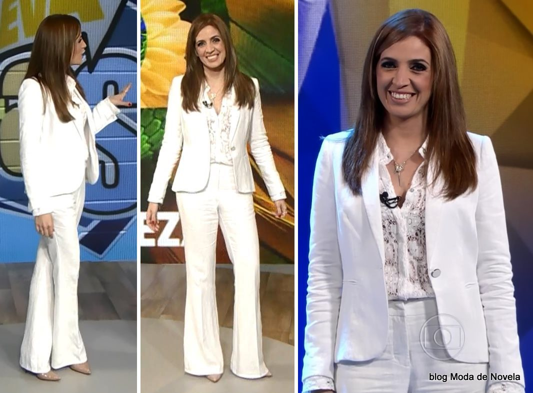 moda do programa Fantástico, terninho branco da Poliana Abritta dia 23 de novembro