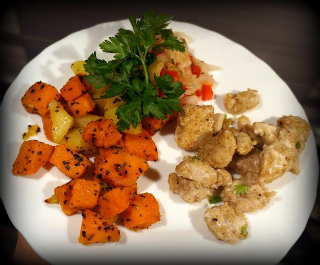 Obiad małego alergika - Kawałki indyka z pieczonymi batatami - bez mleka, jaj i glutenu.