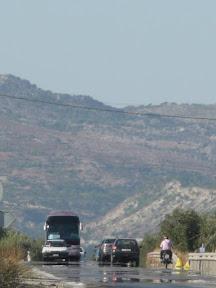 Heat haze on the road at Kalathos