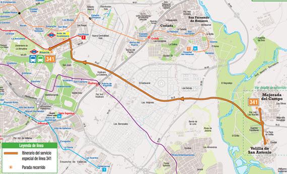 Nueva línea 341 de autobús exprés entre Velilla de San Antonio y Mejorada del Campo con la capital