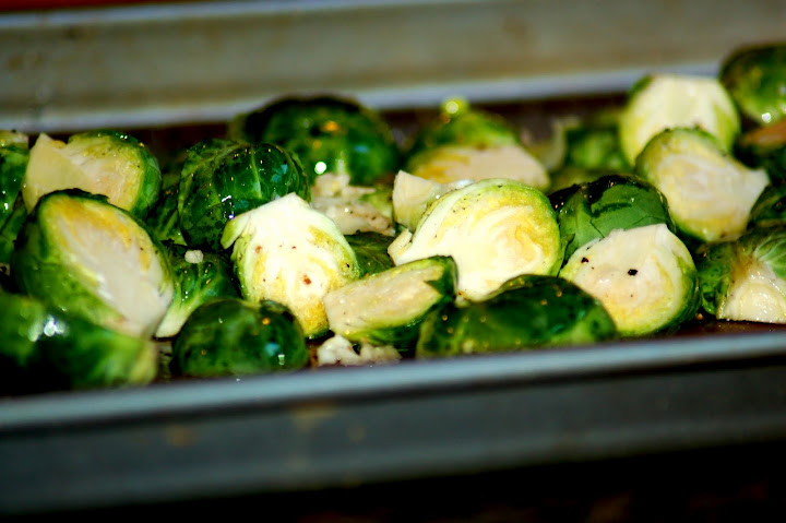 Brussels sprouts in baking tray