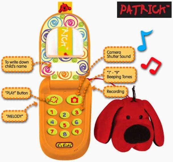 Điện thoại cho bé màu cam KA10499-GB kèm theo chú chó Patrick màu đỏ