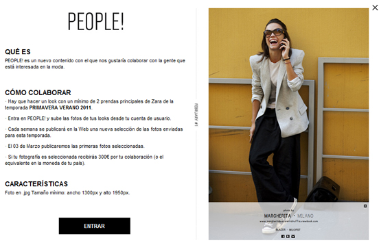 Zara People espacio de moda online para clientes