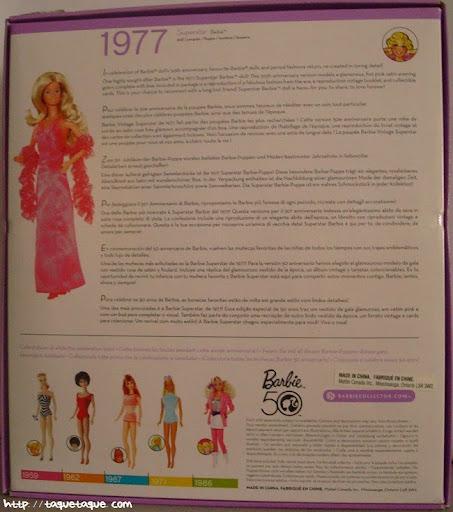 mi Babie Favorita 1977 - Barbie Superstar: parte trasera de la caja