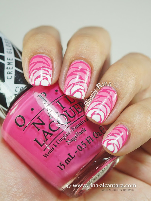 Breast Cancer Awareness 2014 Nail Art on OPI Hey Baby