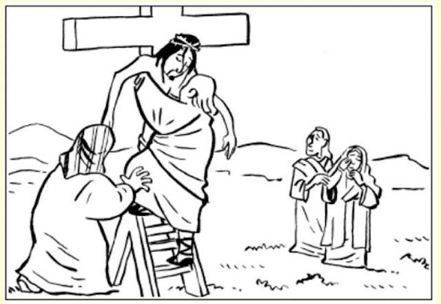 Bajan a Jesús de la Cruz para colorear