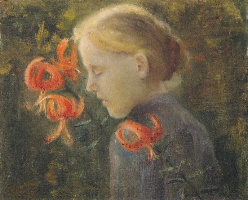 Paula Modersohn-Becker - Mädchen mit Feuerlilien