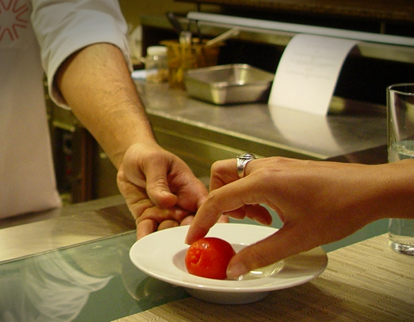 Quickly blanched tomato for Gnocchi sauce