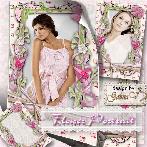 Pastel Frame for Photoshop - Flower Portrait