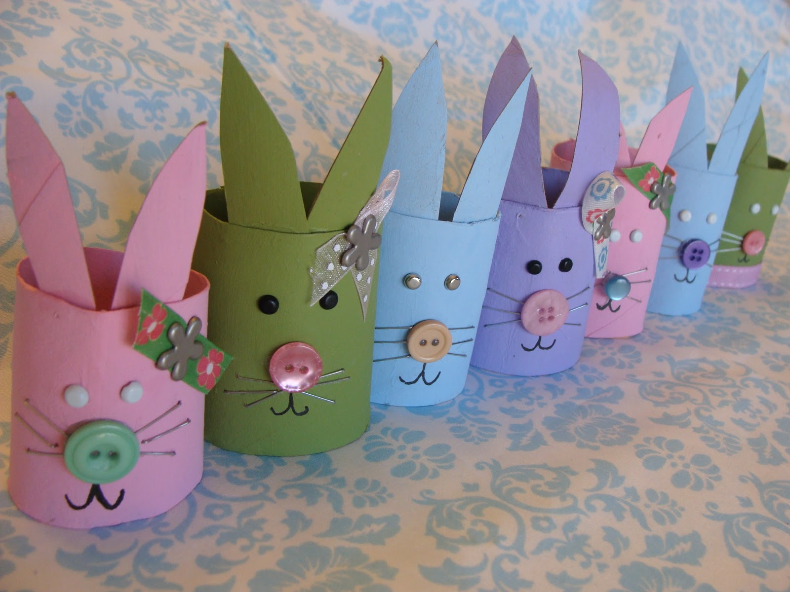 My little gems easter bunny craft from cardboard tubes