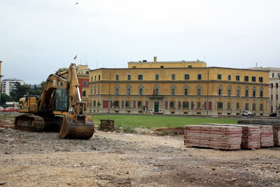 Construction in Skanderbeg Square in Tirana Albania