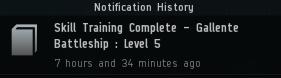 Skill Training Complete - Gallente Battleship: Level 5