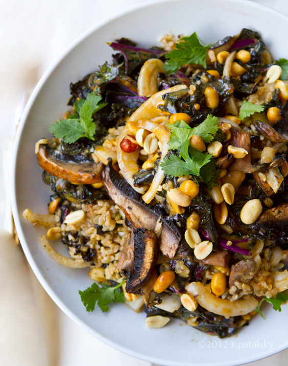Spicy-Peanut Portobello Kale Rice Bowl.