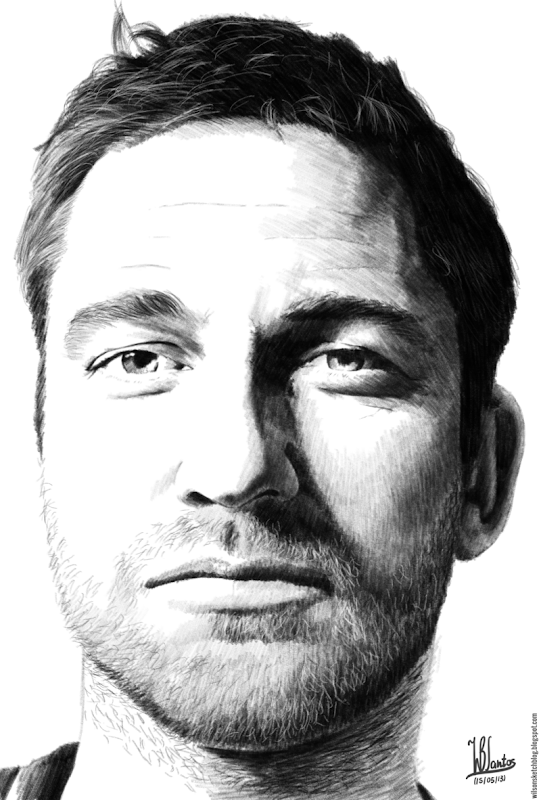 Pencil drawing of Gerard Butler, using Krita 2.7 Alpha.