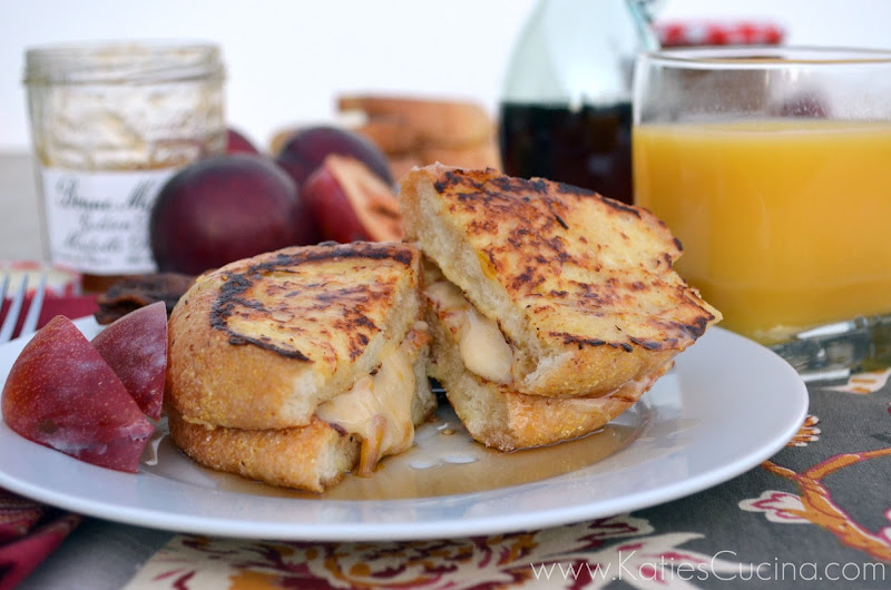 Buttermilk French Toast Stuffed with Cream Cheese Golden Plum Mirabelle Preserves