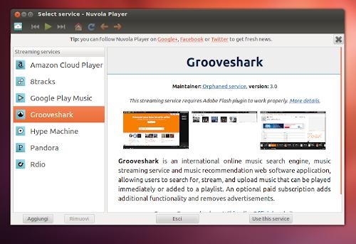 Nuvola Player 2.0 nuova finestra per la gestione e selezione servizi web
