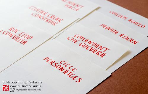 Títols del poemari Cicle Personatges, manuscrits en vermell