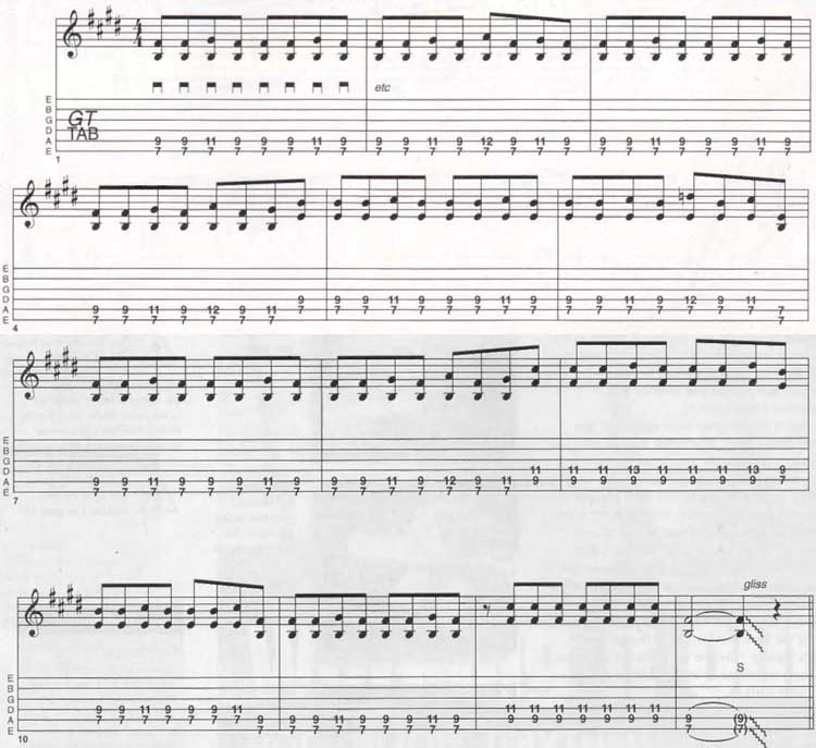 Rock N roll guitar rhythms lesson Tab 1