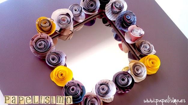 Decorar un espejo con flores de papel papelisimo - Espejo de papel ...