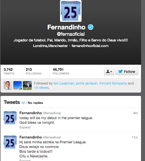 Fernandinho starts! Brazilian announces he will play for Man City v Newcastle on Twitter