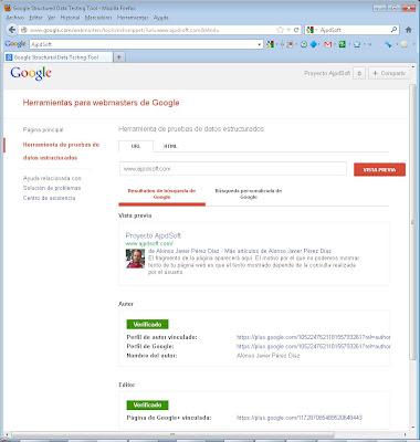 Herramienta para verificar autoría de Google