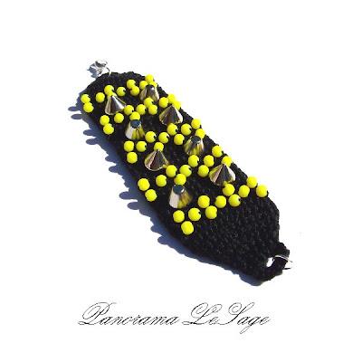 Bransolety z ćwiekami kolce dżety Szydełkowe bransolety biżuteria artystyczna Panorama LeSage kolce z kolcami z ćwiekami ćwieki złoto złote ćwieki srebrne ćwieki czarne ćwieki neony