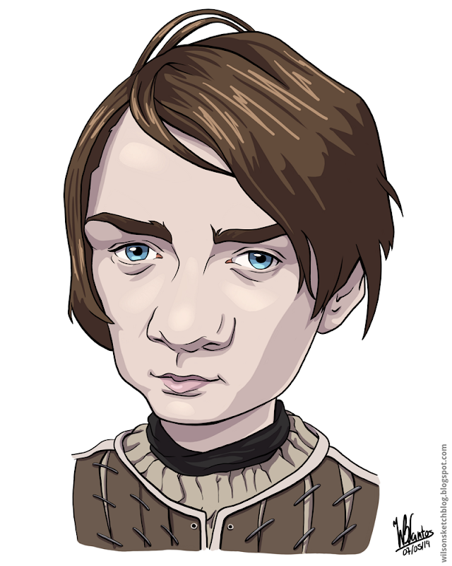 Cartoon caricature of Arya Stark from Game of Thrones.