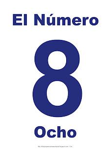 Lámina para imprimir el número ocho en color Azul